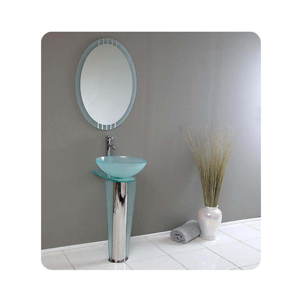 Fresca Vitale Meuble-lavabo de salle de bain en verre moderne avec miroir