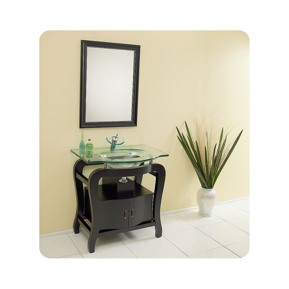 Fresca Grazioso Meuble-lavabo de salle de bains moderne espresso avec miroir