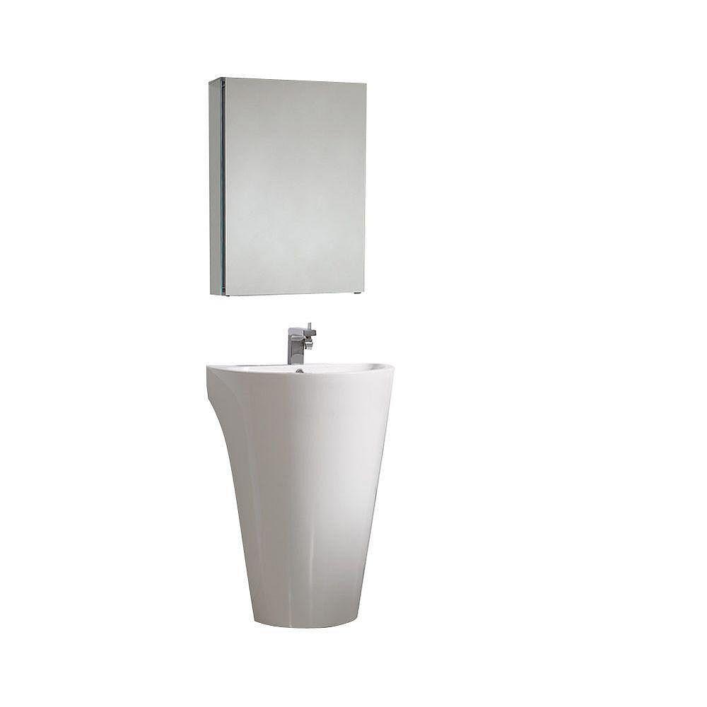 Fresca Parma Évier piédestal blanc avec armoire à pharmacie - Meuble-lavabo de salle de bains moderne