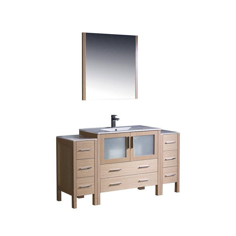 Fresca Torino Meuble-lavabo de salle de bains moderne 60 po chêne clair avec 2 armoires latérales et évier sous-comptoir
