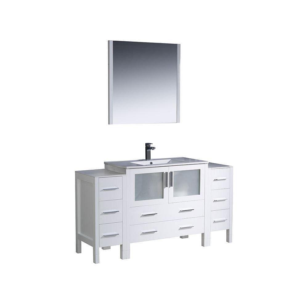 Fresca Torino Meuble-lavabo de salle de bains moderne 60 po blanc avec 2 armoires latérales et évier sous-comptoir