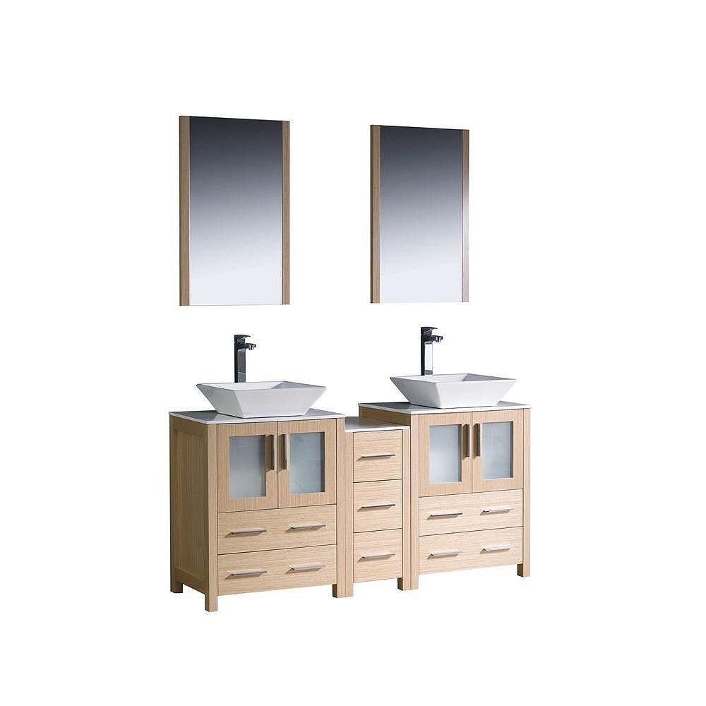 Fresca Torino Meuble-lavabo de salle de bains moderne 60 po à évier double chêne clair avec armoire latérale et éviers vasques
