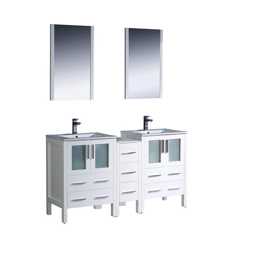 Fresca Torino Meuble-lavabo de salle de bains moderne 60 po à évier double blanc avec armoire latérale et éviers sous-comptoir