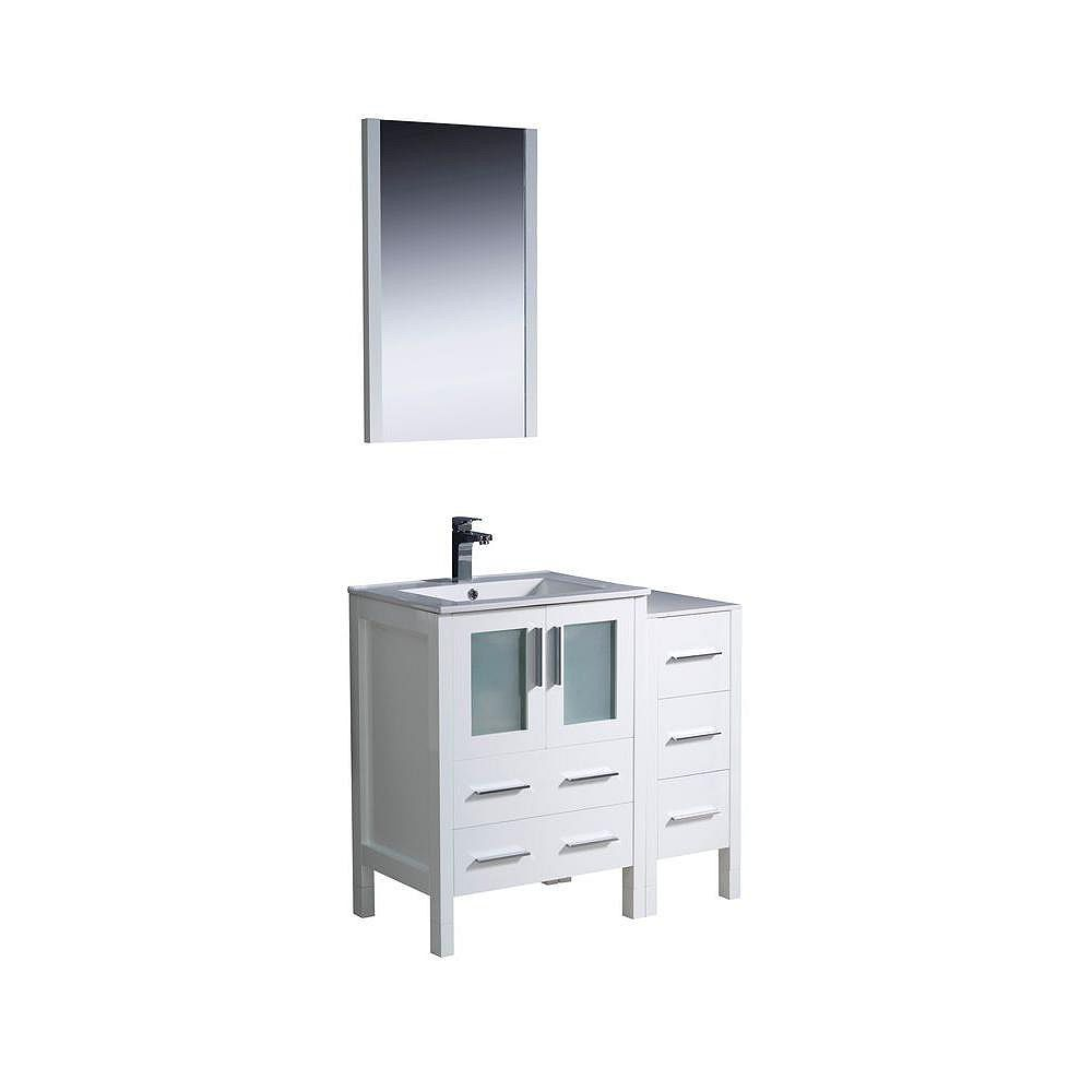 Fresca Torino 36-inch W 5-Drawer 2-Door Vanity in White With Ceramic Top in White With Faucet And Mirror