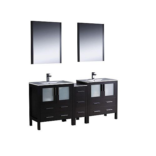 Fresca Torino 72-inch W 7-Drawer 4-Door Vanity in Black With Ceramic Top in White, Double Basins