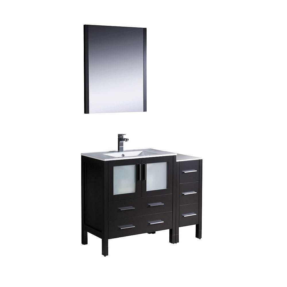 Fresca Torino 42-inch W 5-Drawer 2-Door Vanity in Black With Ceramic Top in White With Faucet And Mirror