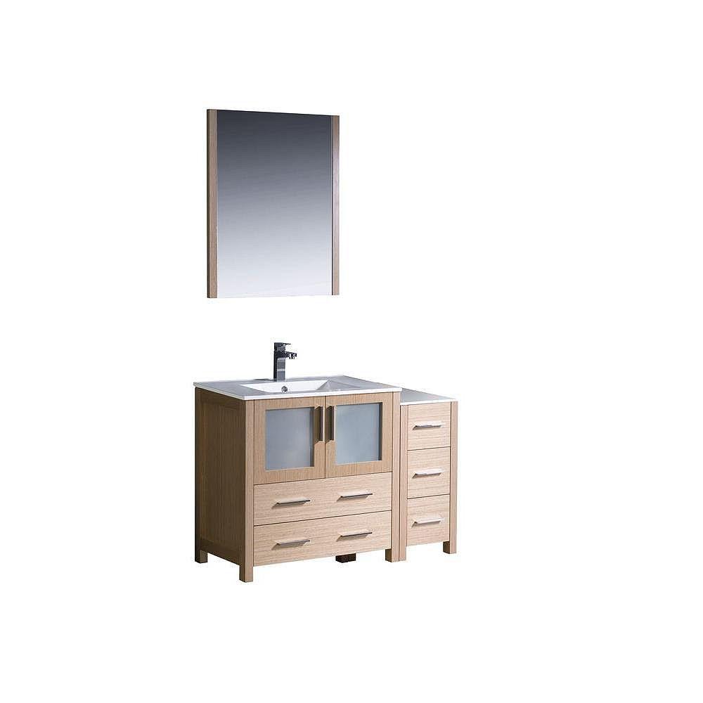 Fresca Torino Meuble-lavabo de salle de bains moderne 42 po chêne clair avec armoire latérale et évier sous-comptoir