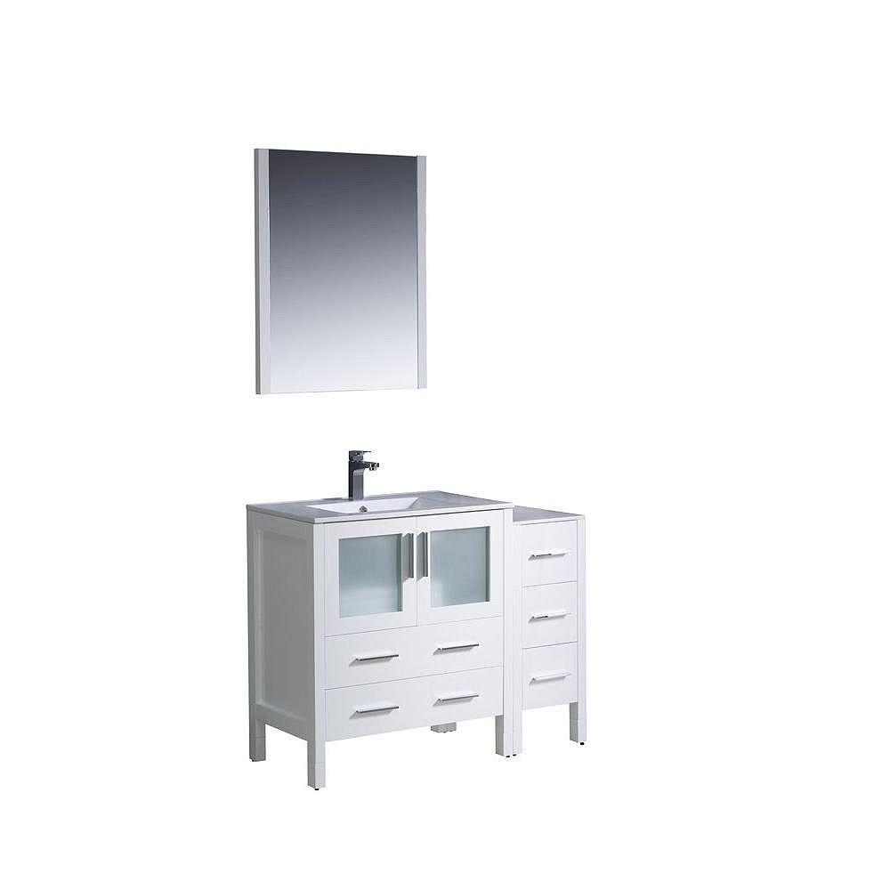 Fresca Torino Meuble-lavabo de salle de bains moderne 42 po blanc avec armoire latérale et évier sous-comptoir