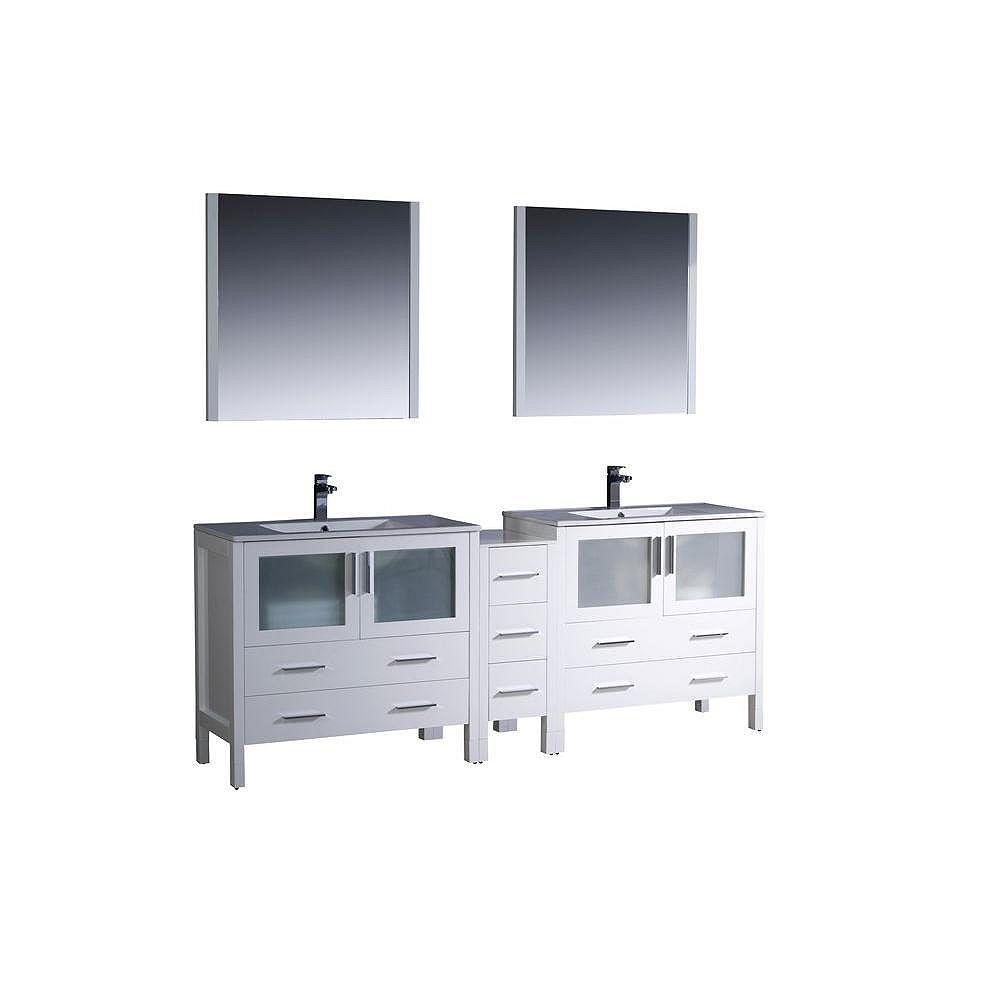 Fresca Torino Meuble-lavabo de salle de bains moderne 84 po à évier double blanc avec armoire latérale et éviers sous-comptoir