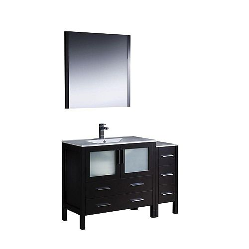 Fresca Torino 47.5-inch W 5-Drawer 2-Door Vanity in Black With Ceramic Top in White With Faucet And Mirror