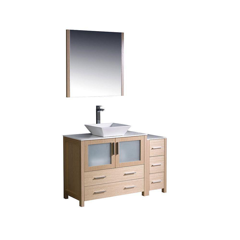 Fresca Torino Meuble-lavabo de salle de bains moderne 48 po chêne clair avec armoire latérale et évier vasque