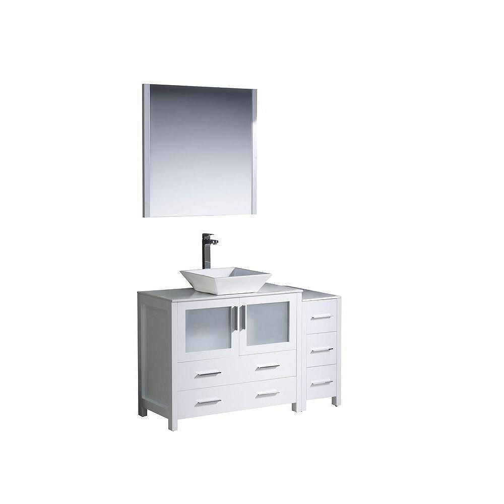 Fresca Torino 47.5-inch W 5-Drawer 2-Door Vanity in White With Ceramic Top in White With Faucet And Mirror