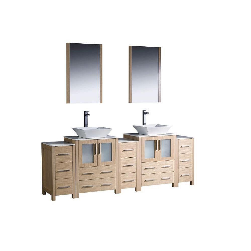 Fresca Torino Meuble-lavabo de salle de bains moderne 84 po à évier double chêne clair avec 3 armoires latérales et éviers vasques