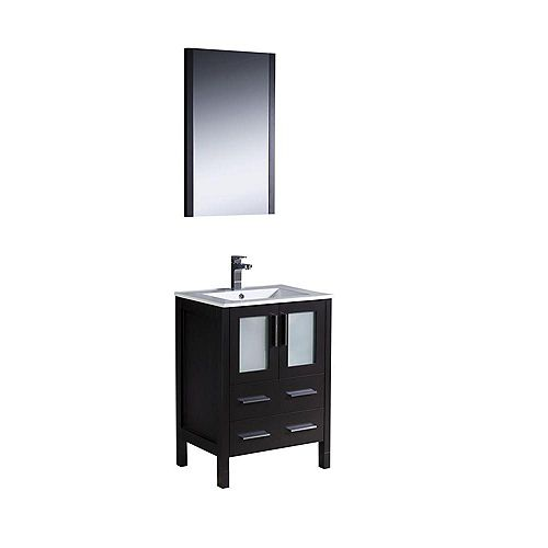Fresca Torino 24-inch W 2-Drawer 2-Door Vanity in Black With Ceramic Top in White With Faucet And Mirror