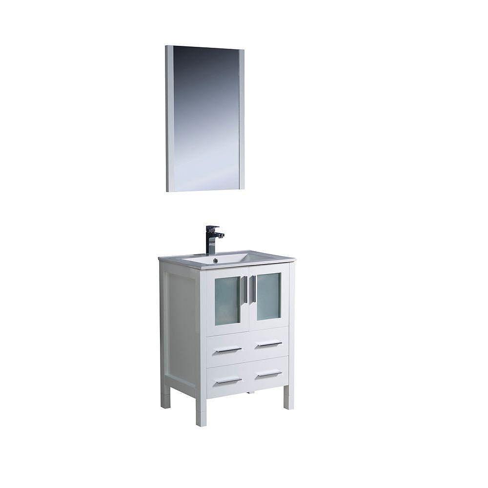 Fresca Torino Meuble-lavabo de salle de bains moderne 24 po blanc avec évier sous-comptoir
