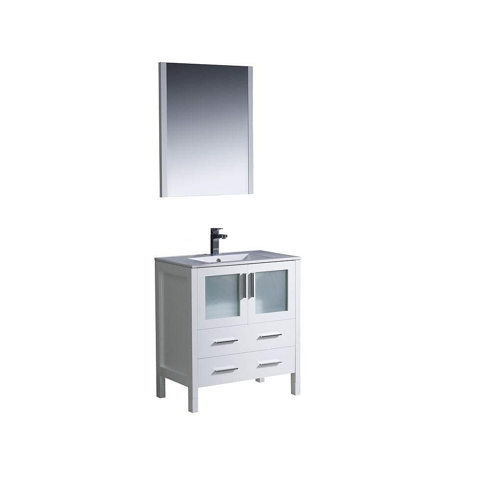 Fresca Torino 30-inch W 2-Drawer 2-Door Vanity in White With Ceramic Top in White With Faucet And Mirror