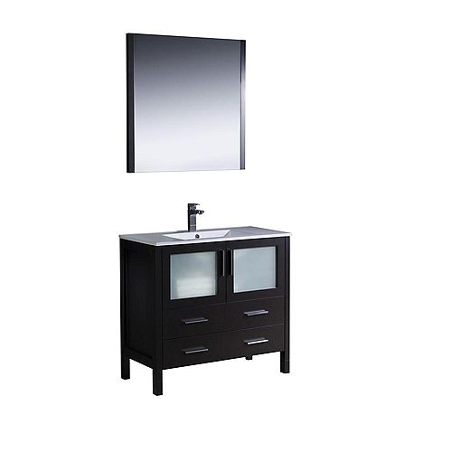 Fresca Torino 35.75-inch W 2-Drawer 2-Door Vanity in Black With Ceramic Top in White With Faucet And Mirror