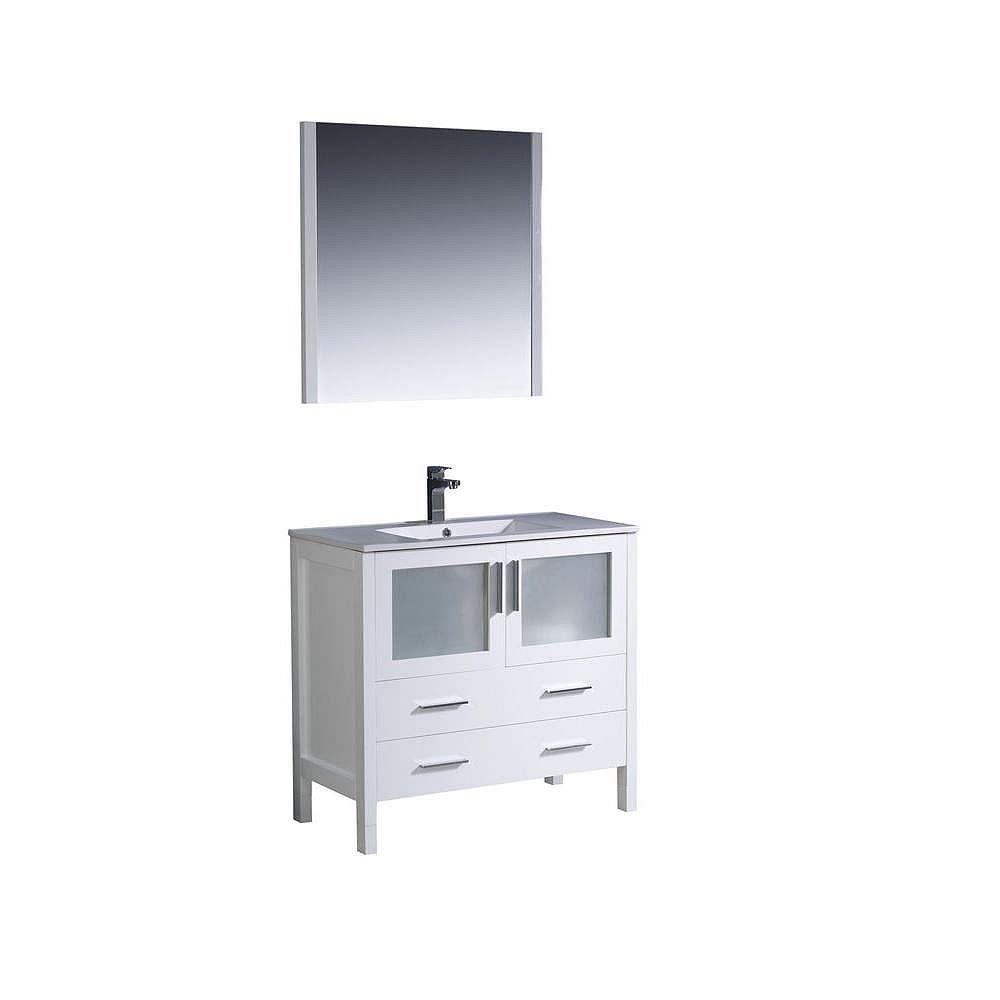 Fresca Torino Meuble-lavabo de salle de bains moderne 36 po blanc avec évier sous-comptoir