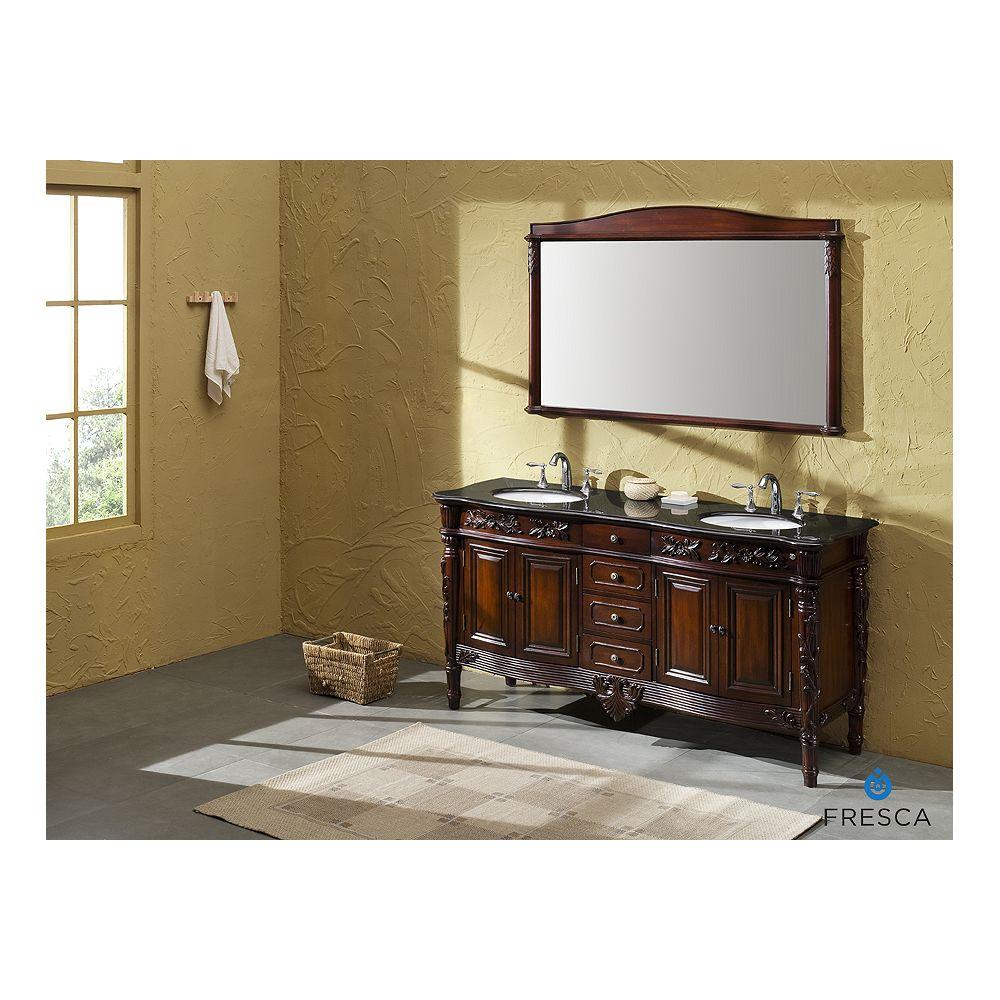 Fresca Laberge antique meuble-lavabo de salle de bains à évier double avec dessus de comptoir noir galaxie