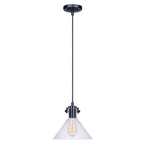 Home Decorators Collection Luminaire suspendu à fût bronze foncé, une ampoule, 40W, diffuseur en verre clair