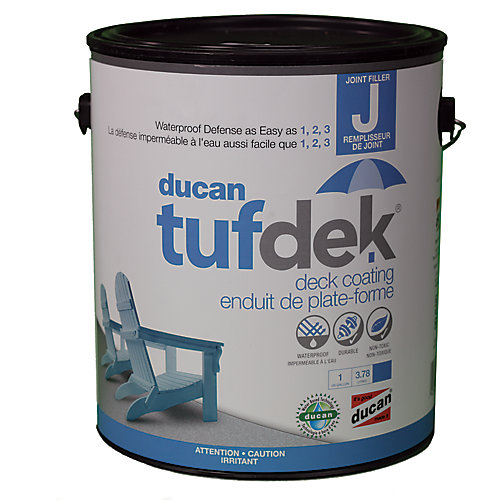 Tufdek Filler for the Tufdek System. Used to fill plywood seams, screw holes and indentations and the transistion from flashing to deck.