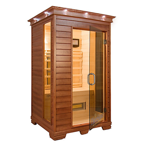 2-Person Infrared Sauna with MPS Control, Aspen Wood and 8 TheraMitter Heaters