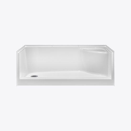 Essence 60 x 30 x 20 po., Base de douche rectangulaire, drain à gauche et siège à droite, AcrylX blanc