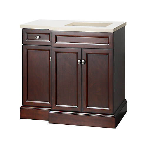 Teagen 36-inch W Vanity Combo in Espresso Finish with Left Drawer