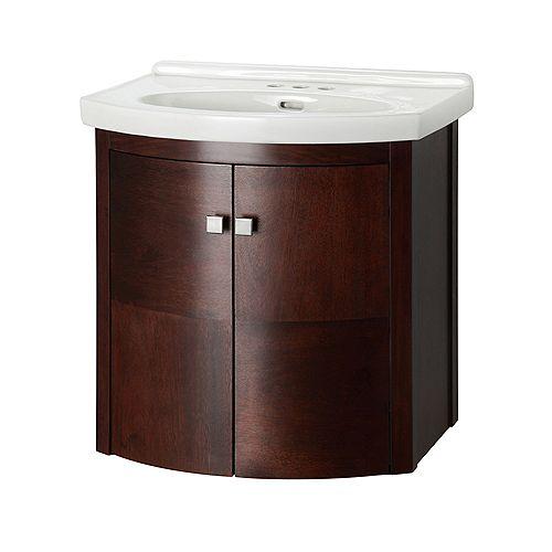 Foremost Denville Ensemble de meuble-lavabo installé au mur de 25 po