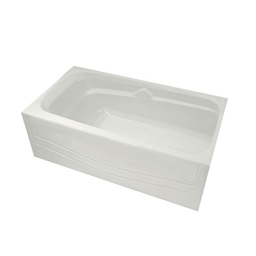 Avenue 60-inch Alcove Bathtub in White with Right-Hand Drain