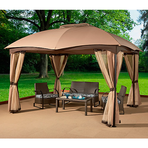 Phuket 10 ft. x 12 ft. Sun Shelter with Mosquito Net and Curtains in Beige and Brown
