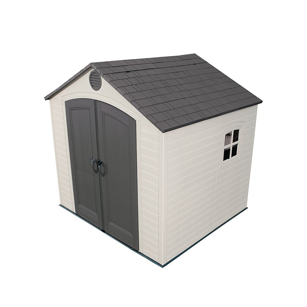 Lifetime 8 ft. x 7.5 ft. Steel Frame & Polyethylene Storage Shed in Taupe with Grey Roof