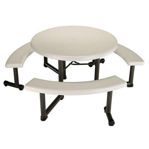 Table de pique-nique ronde 110cm (44po) (amande)