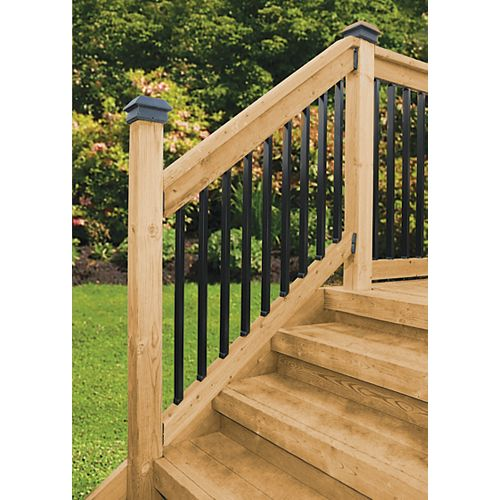 4 ft. W Aluminum Stair Rail Kit with 26-inch L x 1 1/3-inch W Rectangular Balusters in Black (10-Piece)