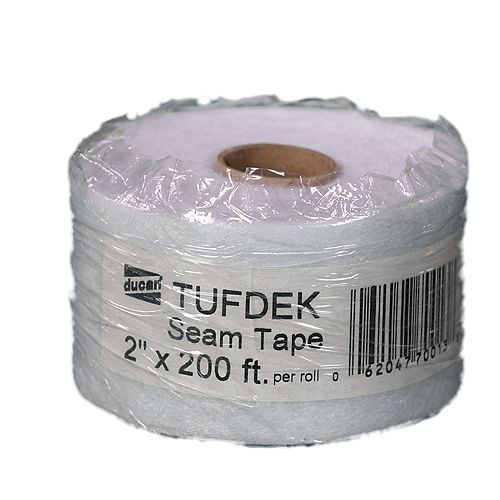 Ducan Tufdek Tufdek Seam Tape, used with the Tufdek Filler to provide a bridge on the seams and for the transition from flashing to deck surface.