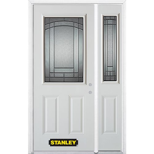 52.75 inch x 82.375 inch Chatham Patina 1/2 Lite 2-Panel Prefinished White Left-Hand Inswing Steel Prehung Front Door with Sidelite and Brickmould