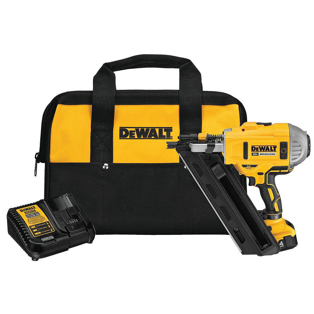 DEWALT 20V MAX Lithium-Ion Cordless Brushless 30° Paper Collated Framing Nailer Kit with 4Ah Battery, Charger and Bag