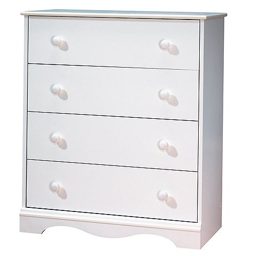 Tender Dreams 30.8-inch x 35.87-inch x 15.75-inch 4-Drawer Dresser in White