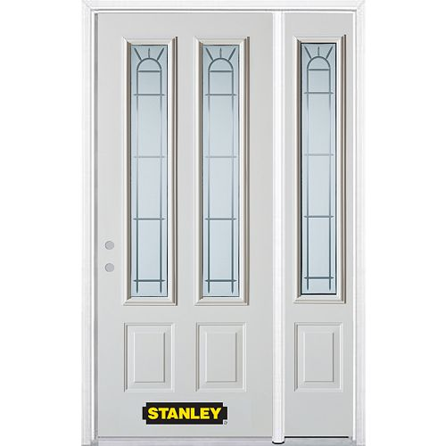 STANLEY Doors 48.25 inch x 82.375 inch Chablis 2-Lite 2-Panel Prefinished White Right-Hand Inswing Steel Prehung Front Door with Sidelite and Brickmould