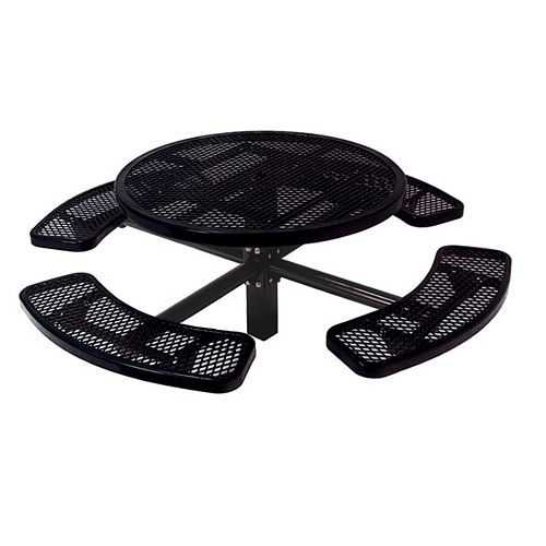 46-inch Commercial Round In-Ground Table in Black