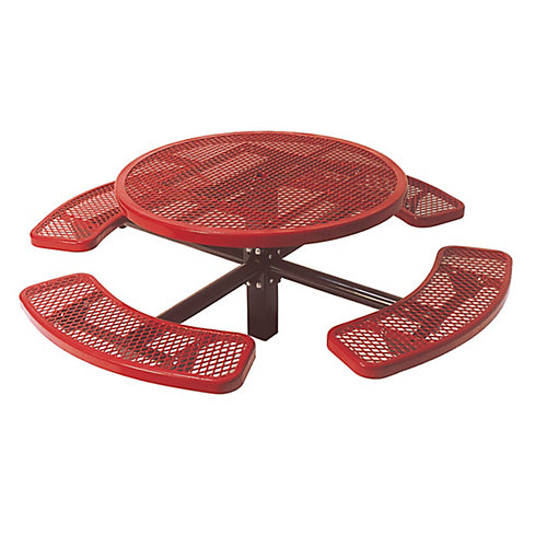46-inch Commercial Round In-Ground Table in Red