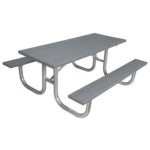 6 ft. Commercial Recycled Plastic Table in Gray