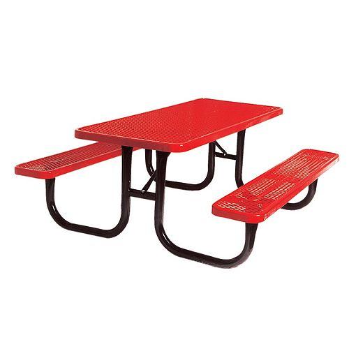 UltraSite 6 ft. Red Diamond Commercial Park Rectangular Portable Table