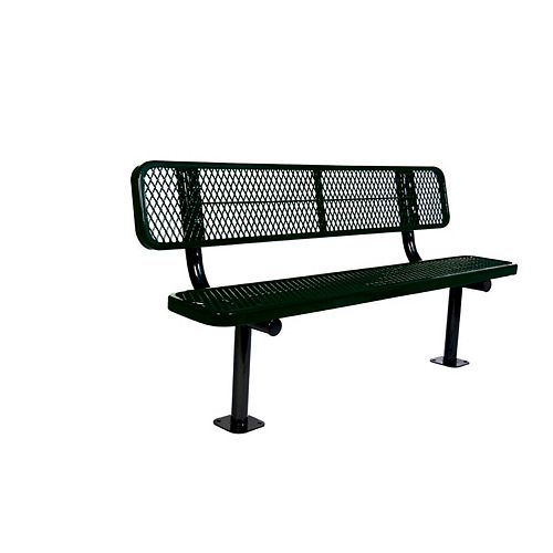 6 ft. Commercial Surface-Mount Bench with Back in Black