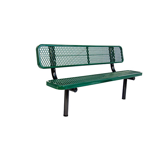 6 ft. Commercial In-Ground Bench with Back in Green