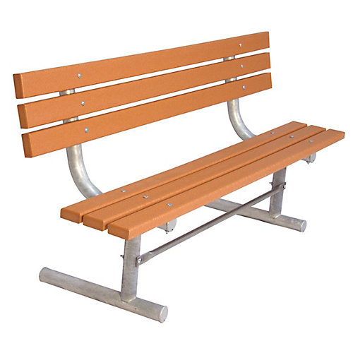 6 ft. Commercial Recycled Plastic Portable Bench with Back in Cedar