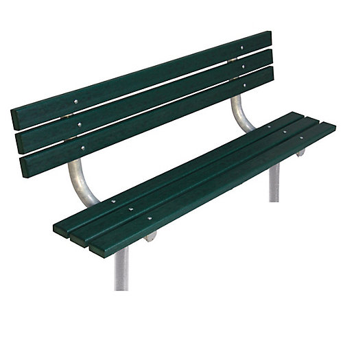 6 ft. Commercial Recycled Plastic In-Ground Bench with Back in Green