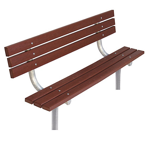 6 ft. Commercial Recycled Plastic In-Ground Bench with Back in Brown