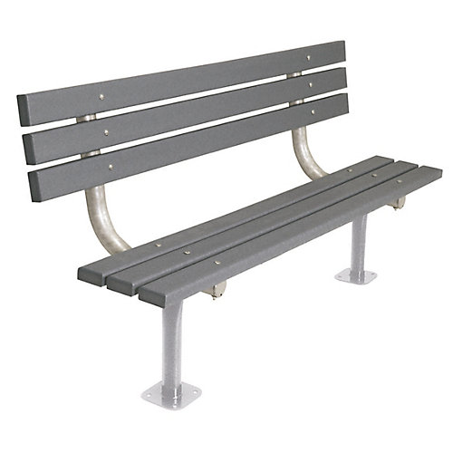 6 ft. Commercial Recycled Plastic Surface-Mount Bench with Back in Gray