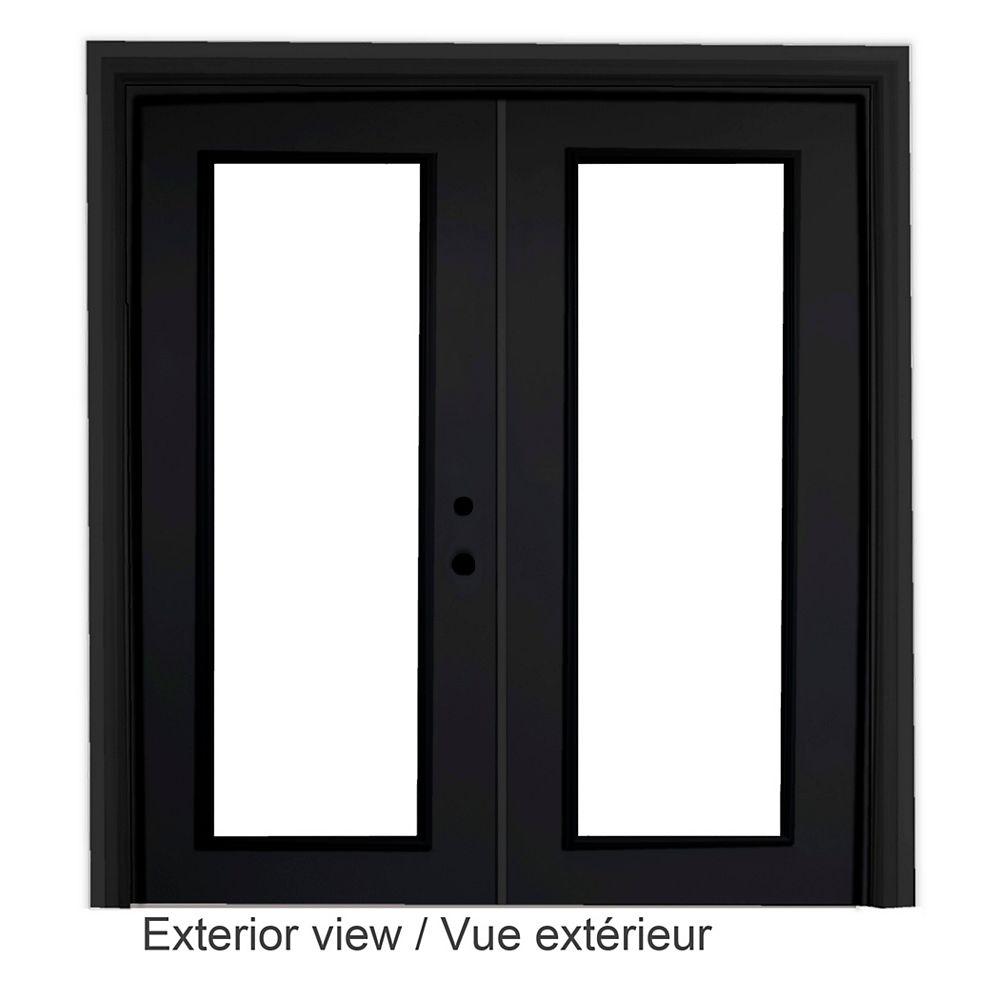 """STANLEY Doors Portefenêtre en acier (6' sur 82375"""") préfinie intérieur blanc et extérieur noir, LowE Argon - ENERGY STAR®"""